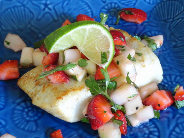 Greater Amberjack with Cucumber Lime Strawberry Salsa