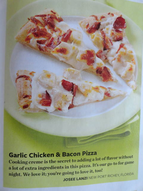 My Garlic Chicken & bacon  pizza in Taste of Home Magazine Simple & delicious