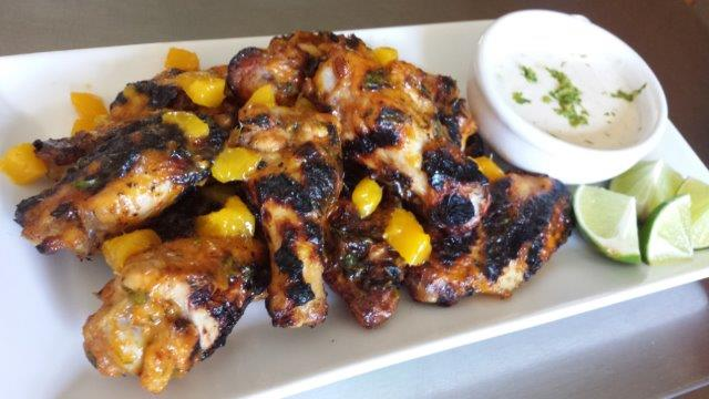 Sriracha Mango Wings with Lime Ranch Dressing