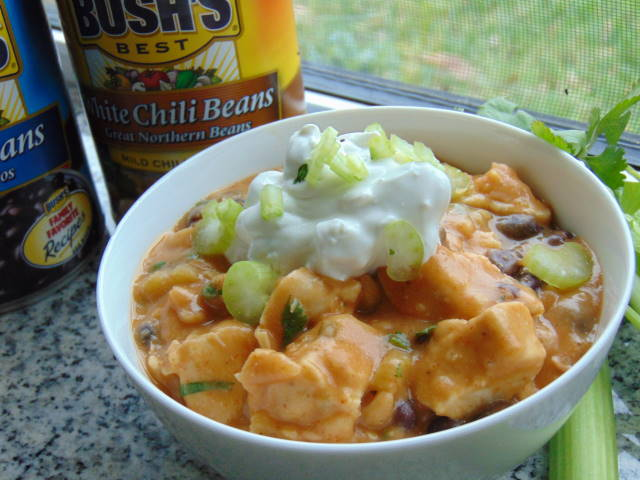 Spicy 2-Bean Buffalo Chicken Chili with Blue Cheese Sour Cream1