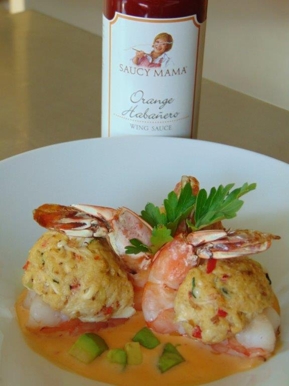 Crab stuffed Prawns with Avocado in a Creamy Orange Habanero Sauce